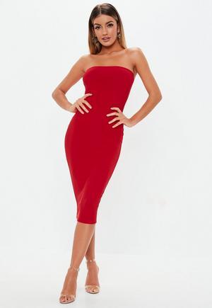 3a6897a38941 Pink Glitter Velvet Bandeau Bodycon Dress | Missguided