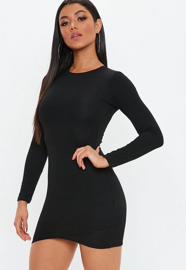 Black Round Neck Wrap Skirt Dress by Missguided