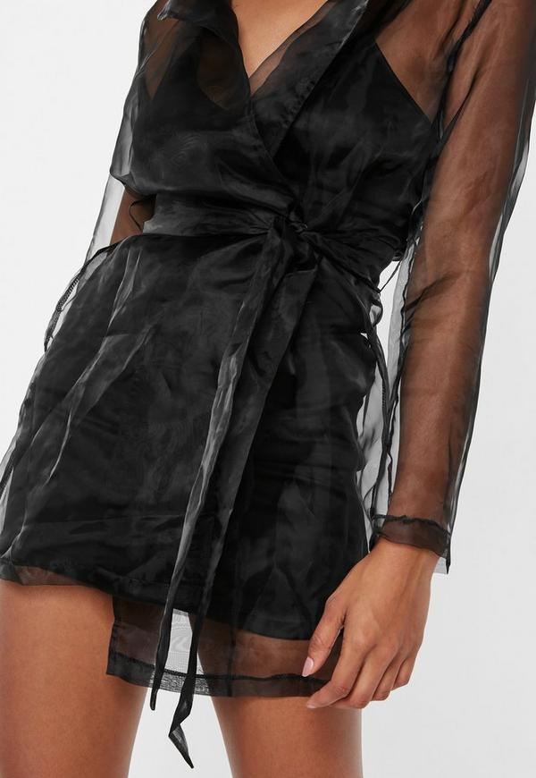 Black Organza Blazer Dress Missguided