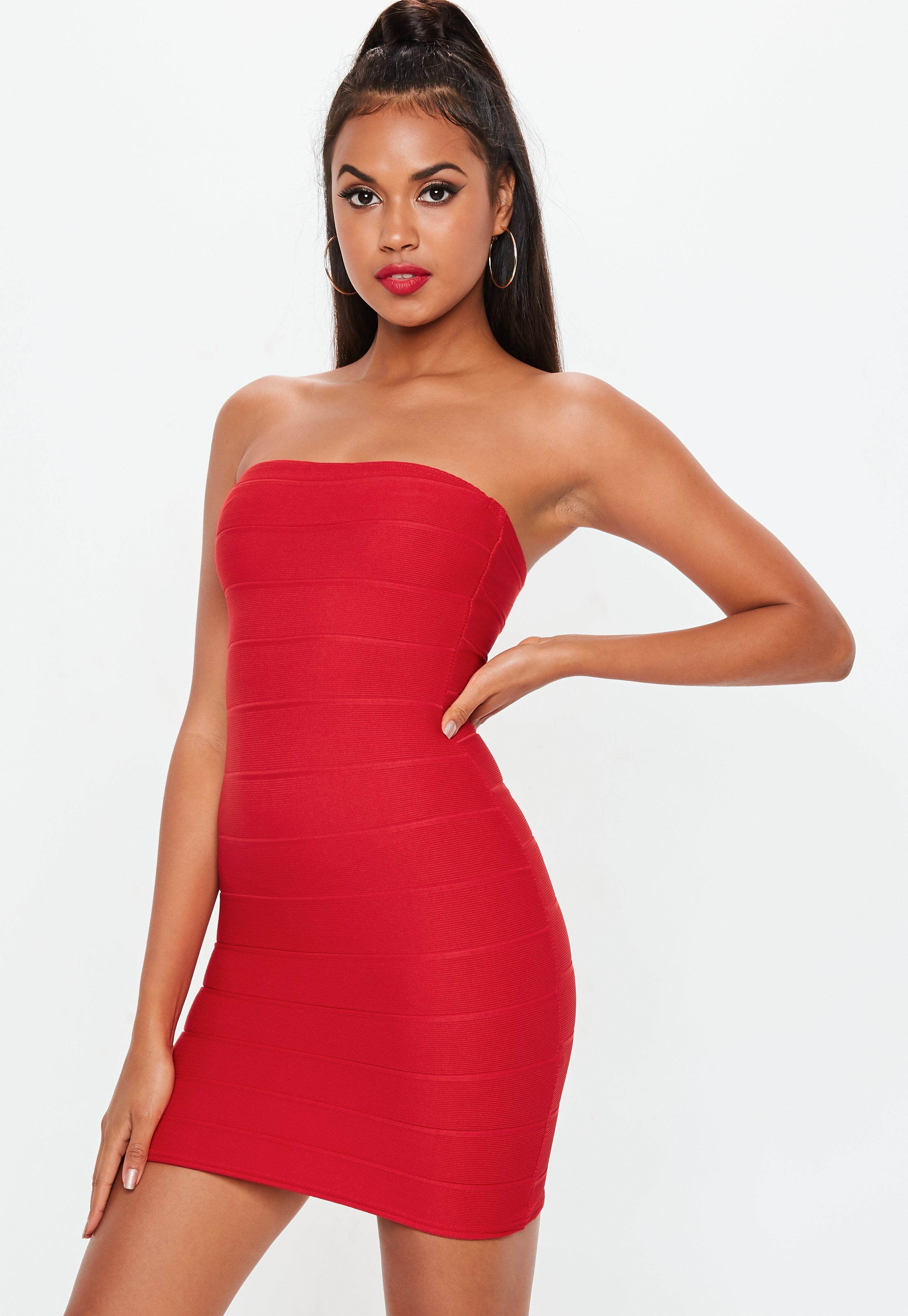 12f72e759 Czerwona bandażowa sukienka mini   Missguided