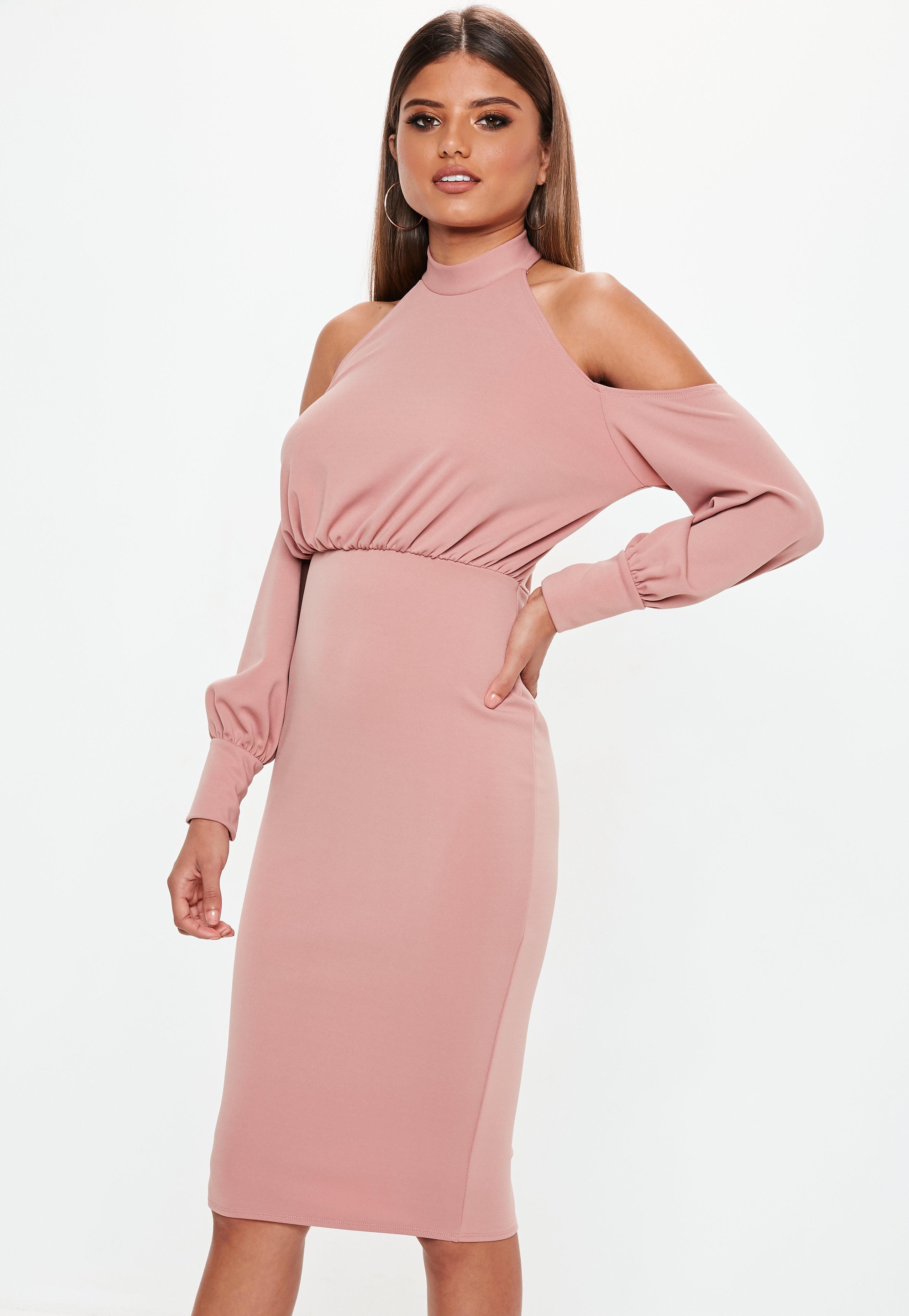 rose pink halter cold shoulder midi dress missguided