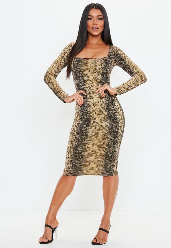 Brown Zebra Square Neck Midi Dress Missguided