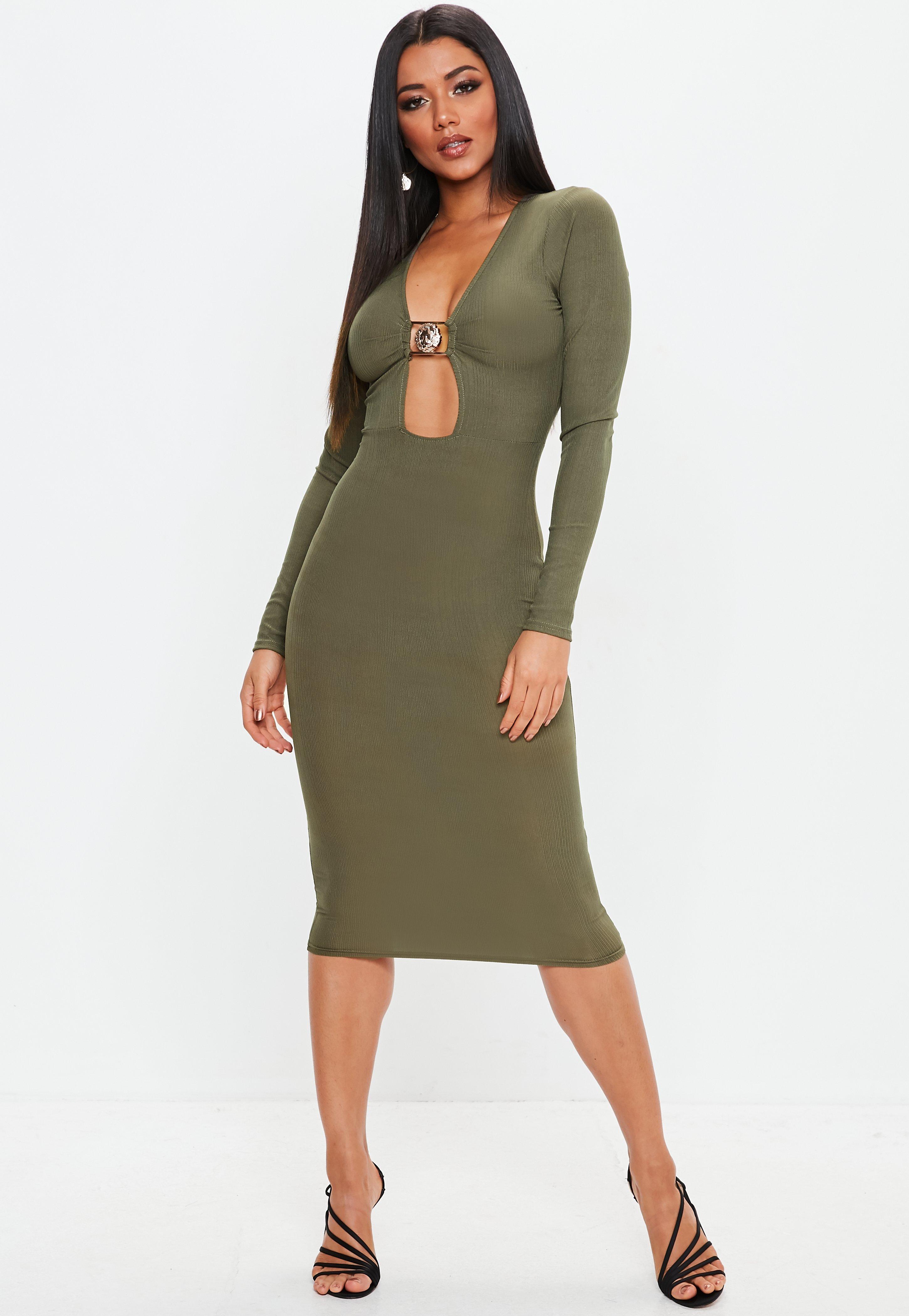 381f92db5cc0 Khaki Clasp Ruched Long Sleeve Midi Dress