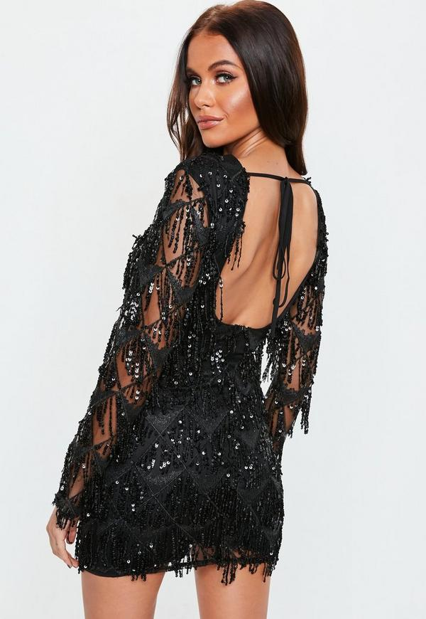 Black Sequin Fringe Long Sleeve Mini Dress Missguided
