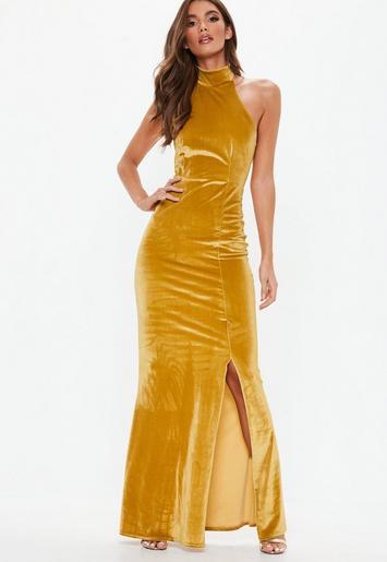 Gold Velvet Choker Maxi Dress Missguided