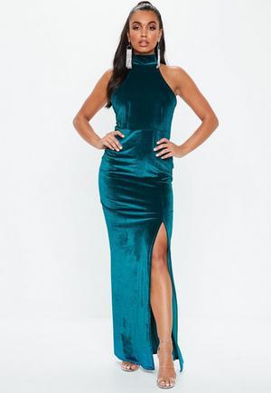 5f91f84352e Black Sequin Cowl Neck Side Split Dress