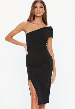 Christmas Party Dresses.Sofia Richie X Missguided Black Slinky Ruched Racer Back Midi Dress