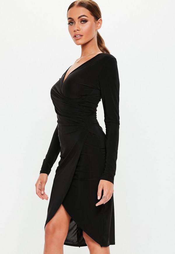 cf1f43fd4a1c Black Long Sleeve Slinky Wrap Midi Dress