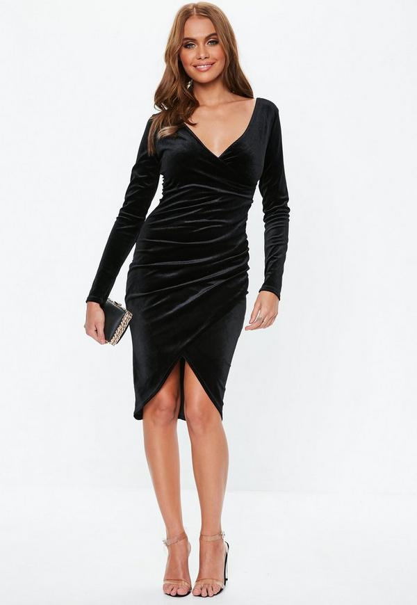 Black Velvet Wrap Mini Dress Missguided