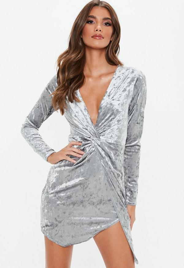 0aac0af8e053 ... Grey Crushed Velvet Long Sleeve Twist Wrap Dress. Previous Next