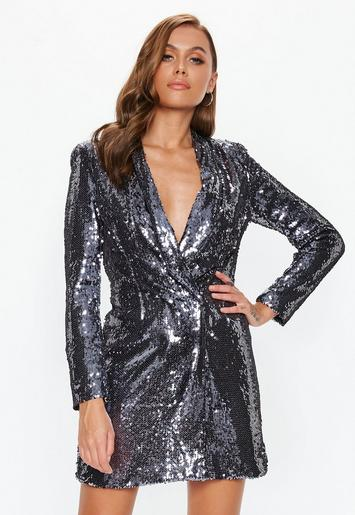 Silver Sequin Blazer Dress Missguided