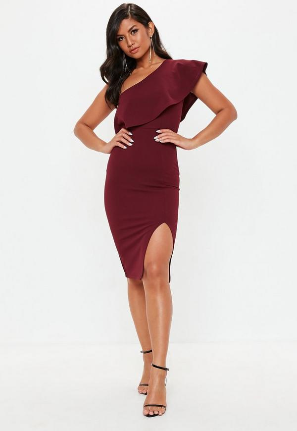 Burgundy Scuba One Shoulder Midi Dress Missguided