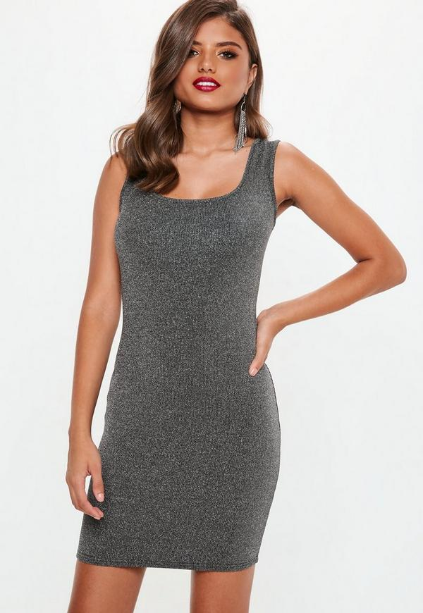Silver Glitter Bodycon Dress Missguided