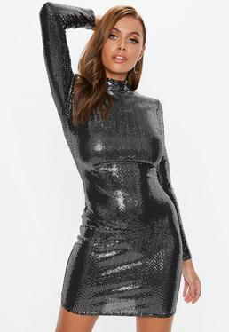 black high neck sequin mini dress