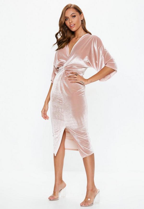181d8a39cc Pink Velvet Plunge Twist Front Midi Dress