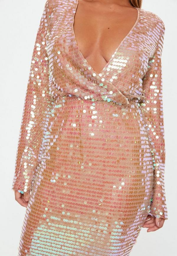 Blush Sequin Fluted Sleeve Wrap Over Midi Dress Missguided