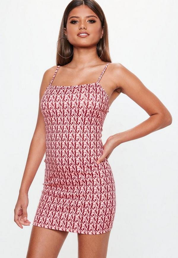 Pink Miss MG Print Strappy Bodycon Mini Dress  5658eb512