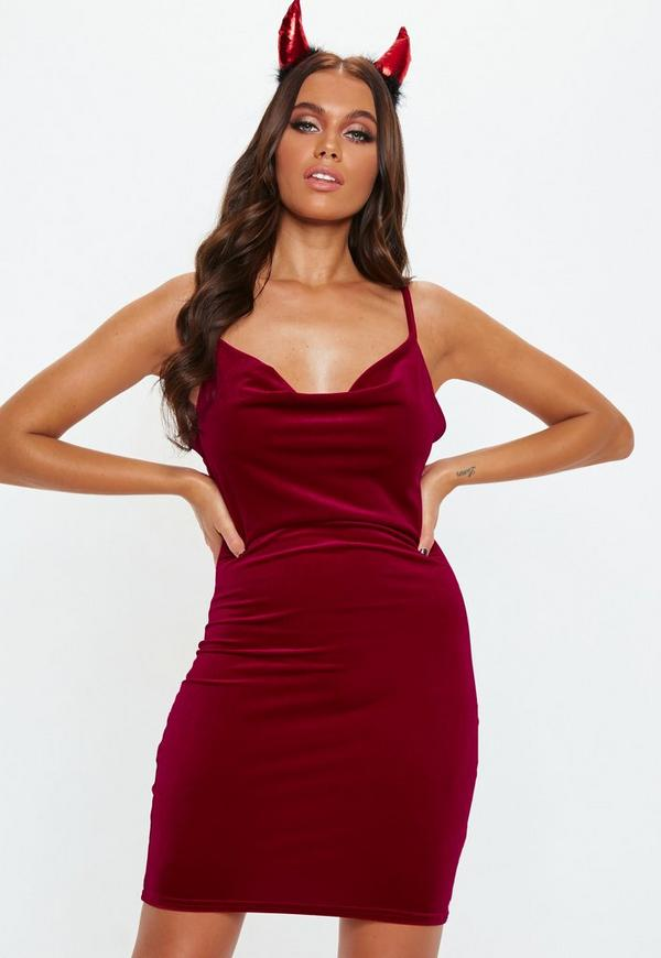957ae70b2f Red Velvet Cowl Mini Dress
