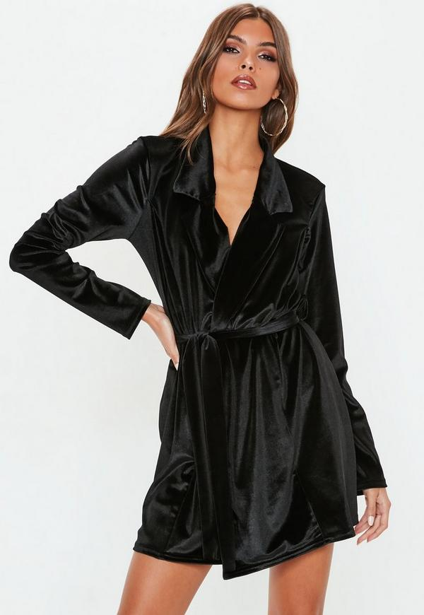 85d9a1923e ... Black Long Sleeve Velvet Belted Blazer Dress. Previous Next