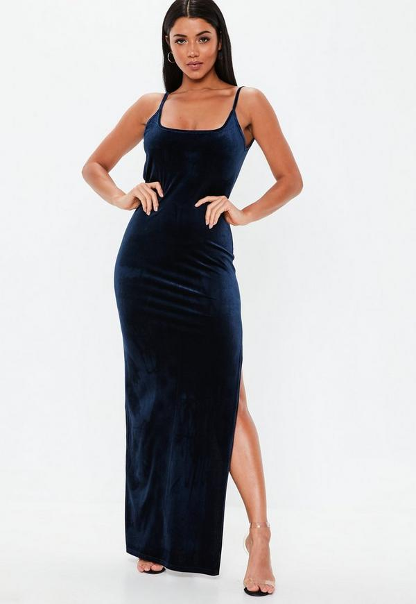 dc3d895ed1 Navy Velvet Strappy Square Neck Maxi Dress