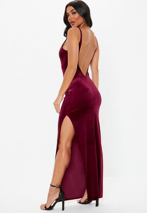 0efc588370e Burgundy Velvet Strappy Square Neck Maxi Dress