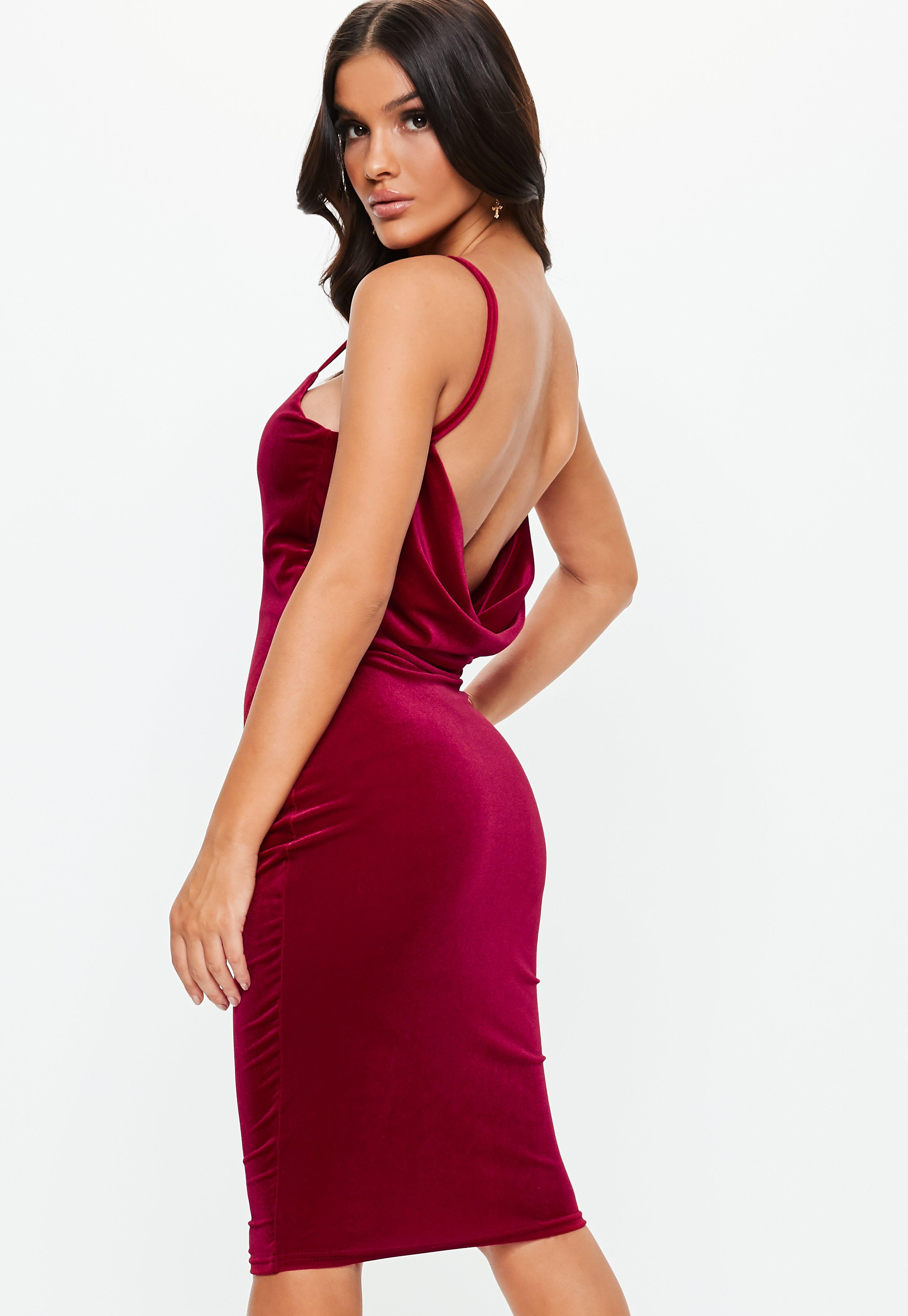 6b3a84f0c Red Cowl Velvet Strappy Midi Dress | Missguided