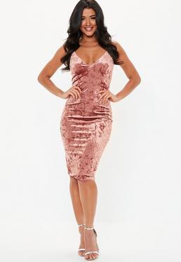 Velvet rose bodycon dress in light pink
