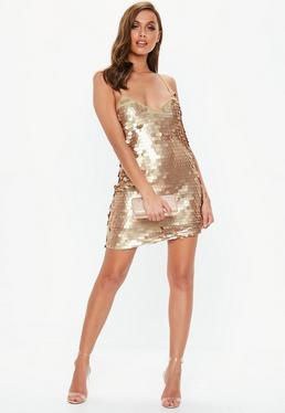 fd3c2e7fecf ... Mattes Pailletten-Minikleid mit Spaghettiträgern in Gold