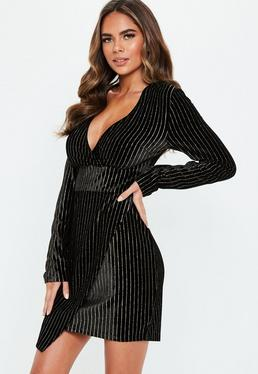 8f5a3cc9561 ... Black Velvet Gold Glitter Stripe Wrap Mini Dress