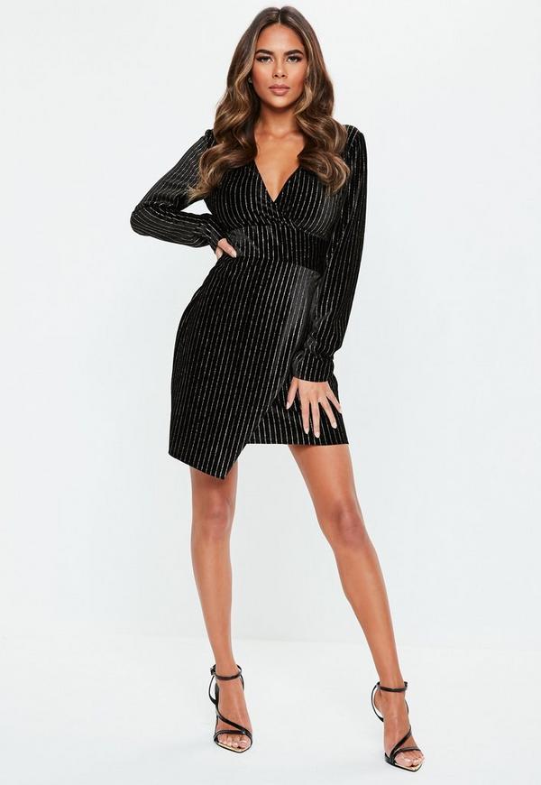 27f9b165f7b Black Velvet Gold Glitter Stripe Wrap Mini Dress. Previous Next