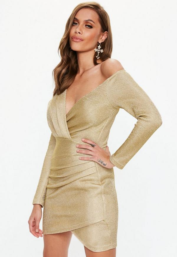 efeaca8a3737 ... Gold Off Shoulder Knitted Wrap Mini Dress. Previous Next