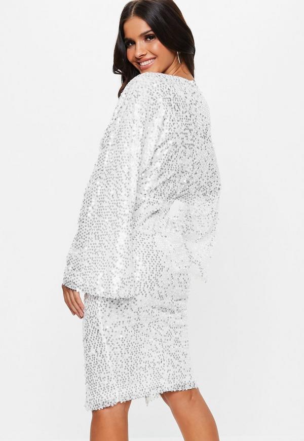 White Sequin Kimono Sleeve Wrap Midi Dress Missguided