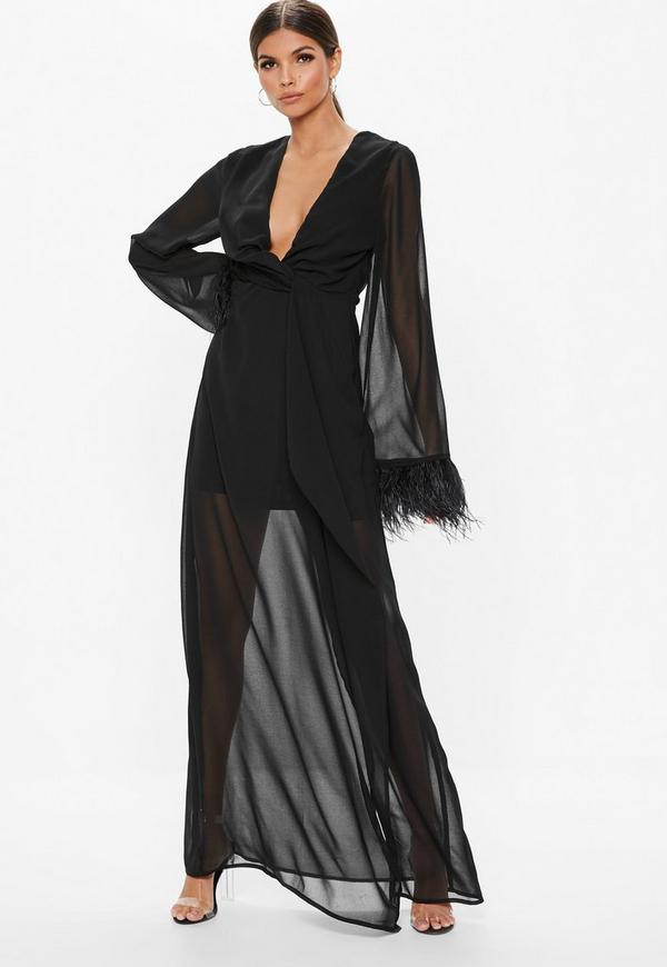Black Twist Front Sheer Feather Trim Maxi Dress Missguided