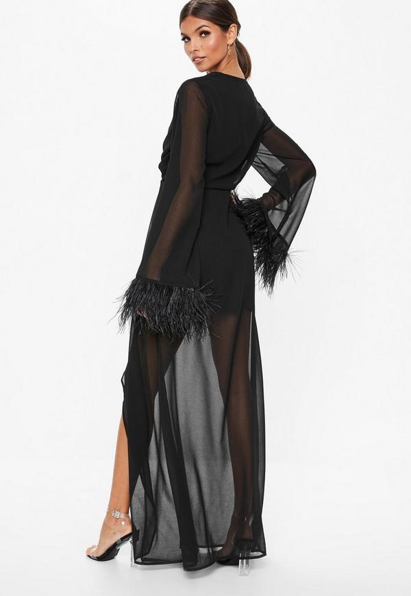 Black Twist Front Sheer Feather Trim Maxi Dress