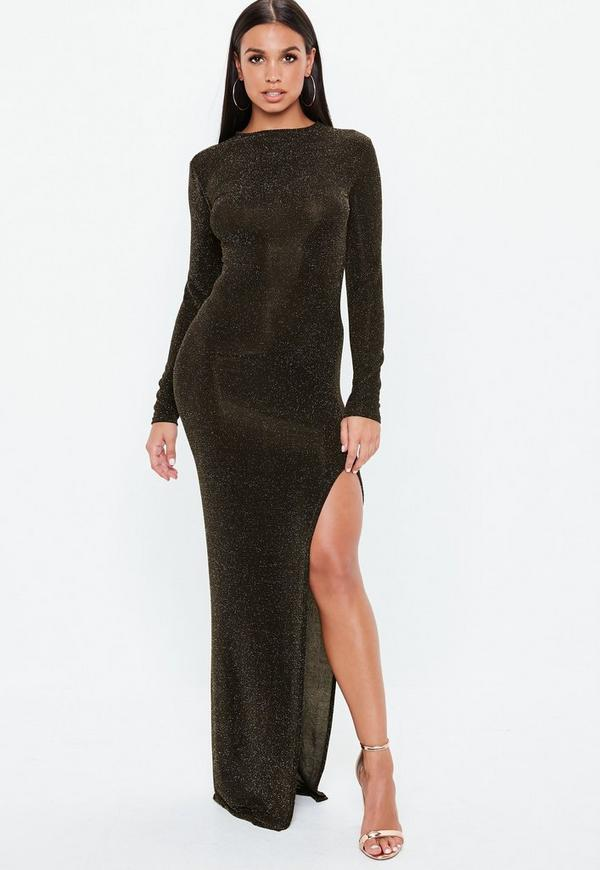 Bronze Glitter Side Split Maxi Dress Missguided