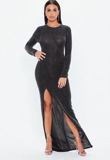 Black Glitter High Side Split Maxi Dress Missguided