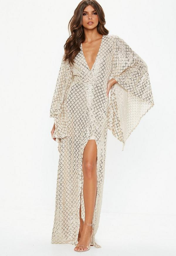 45409ba33a8c2 Gold Kimono Sequin Wrap Maxi Dress