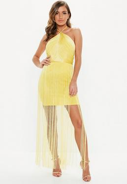Yellow Halterneck Fringed Mini Dress