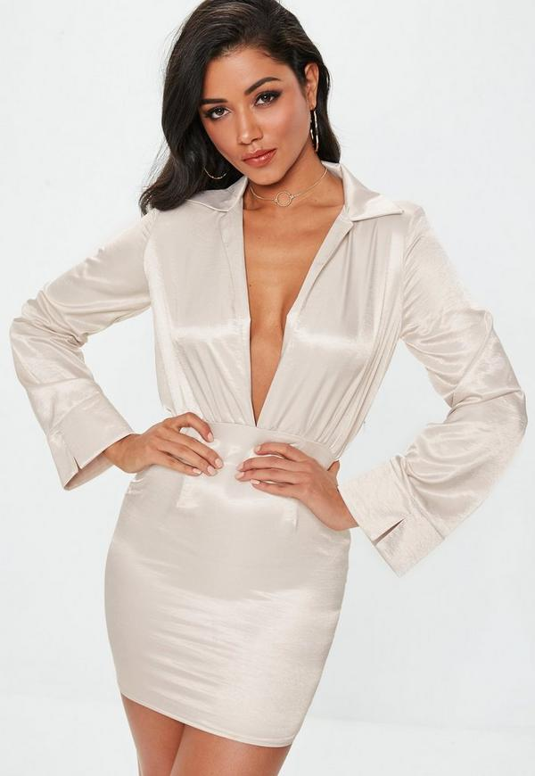 4163c740f5 Cream Satin Plunge Collar Mini Dress