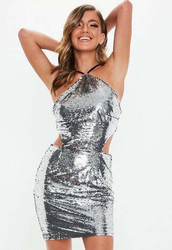 Silver Halter Neck Sequin Cut Out Dress Missguided