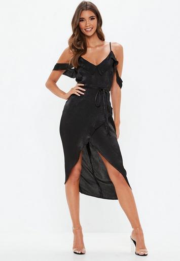 Black Cold Shoulder Frill Midi Dress Missguided