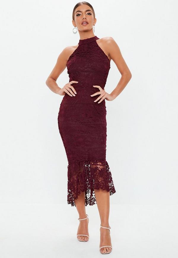 Burgundy High Neck Lace Midi Dress Missguided
