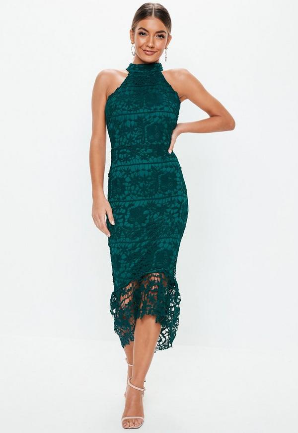 Teal High Neck Lace Midi Dress Missguided