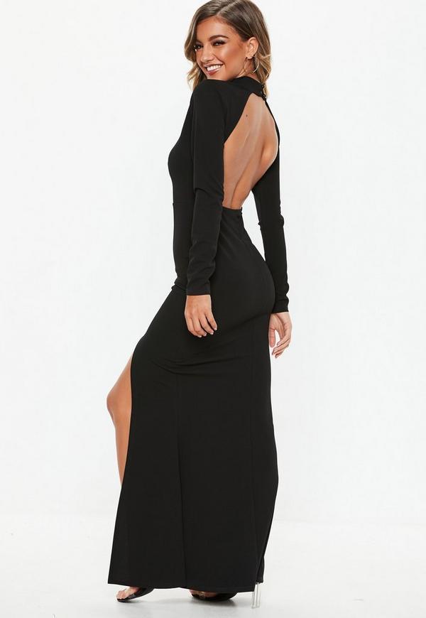 0edf2a7e2b Black Long Sleeve Open Back Maxi Dress