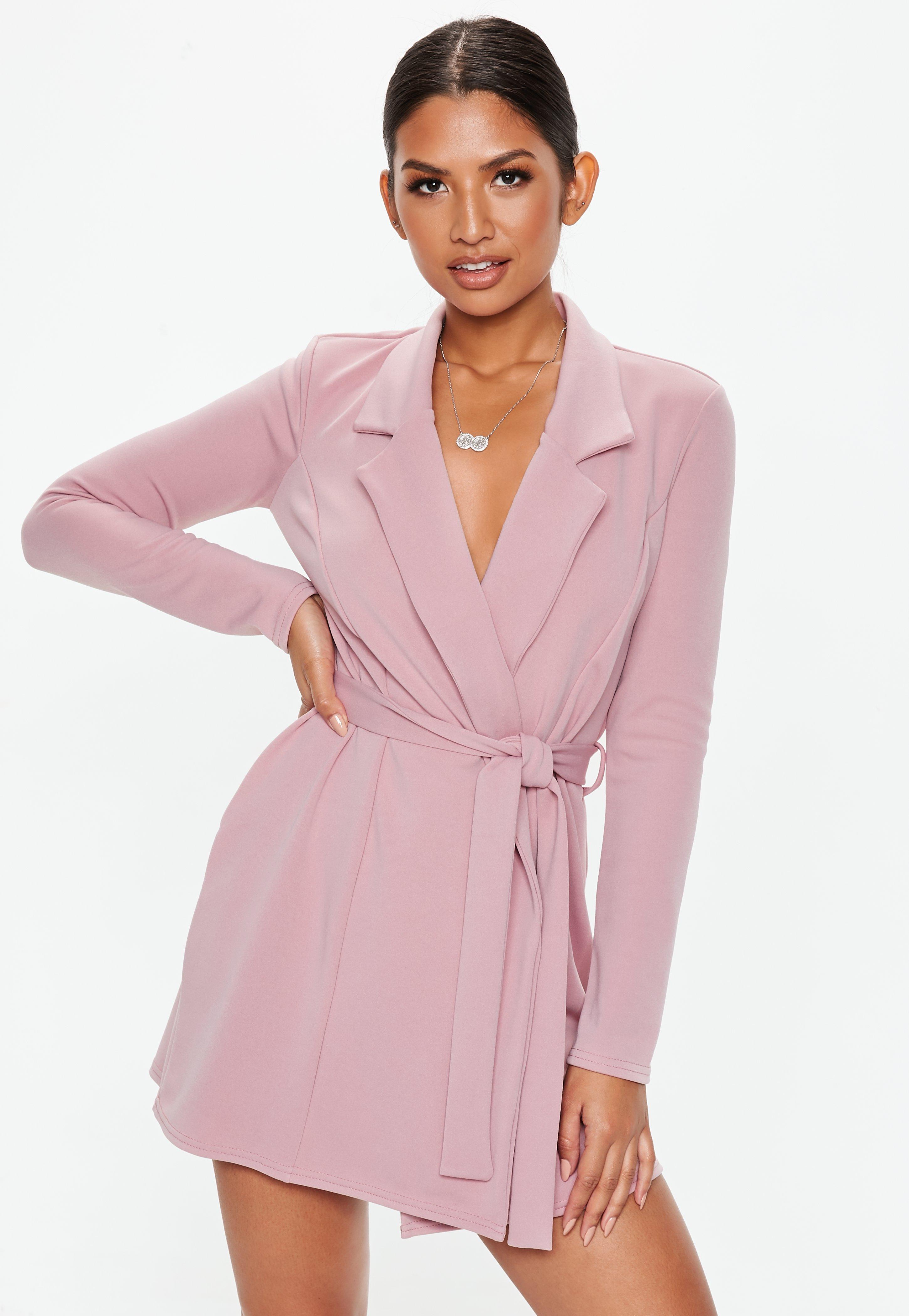 464c5df41674 Mauve Long Sleeve Jersey Stretch Crepe Blazer Dress | Missguided