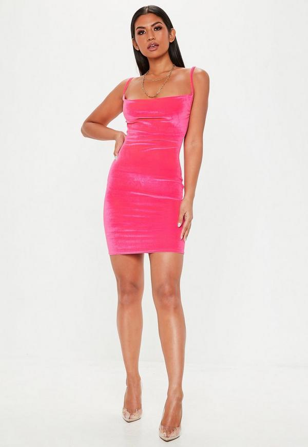 Pink Neon Velvet Cowl Mini Dress Missguided