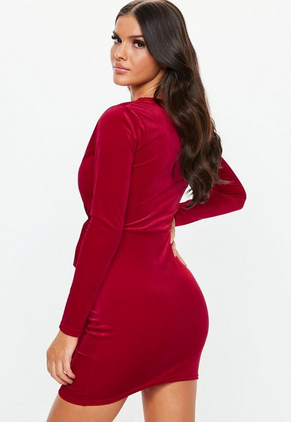 ca50824247 ... Red Velvet Plunge Drape Mini Dress. Previous Next
