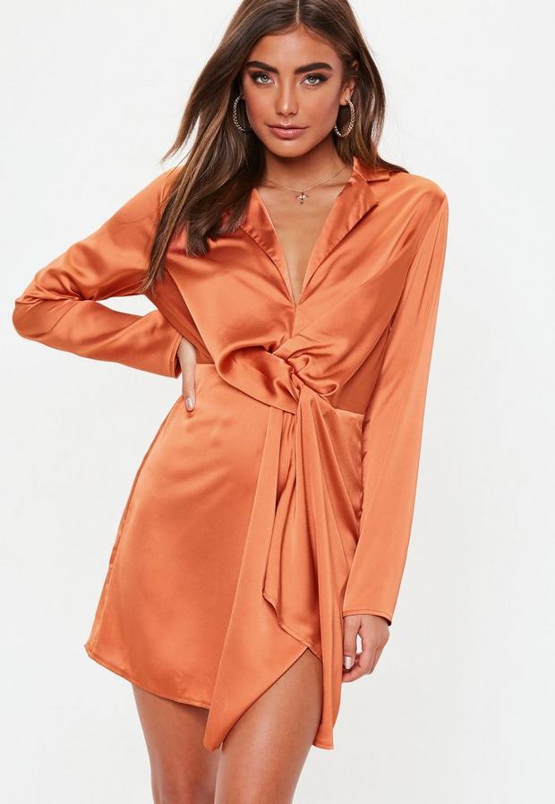 Missguided Women's Terrac Slinky Plunge Wrap Shift Dress