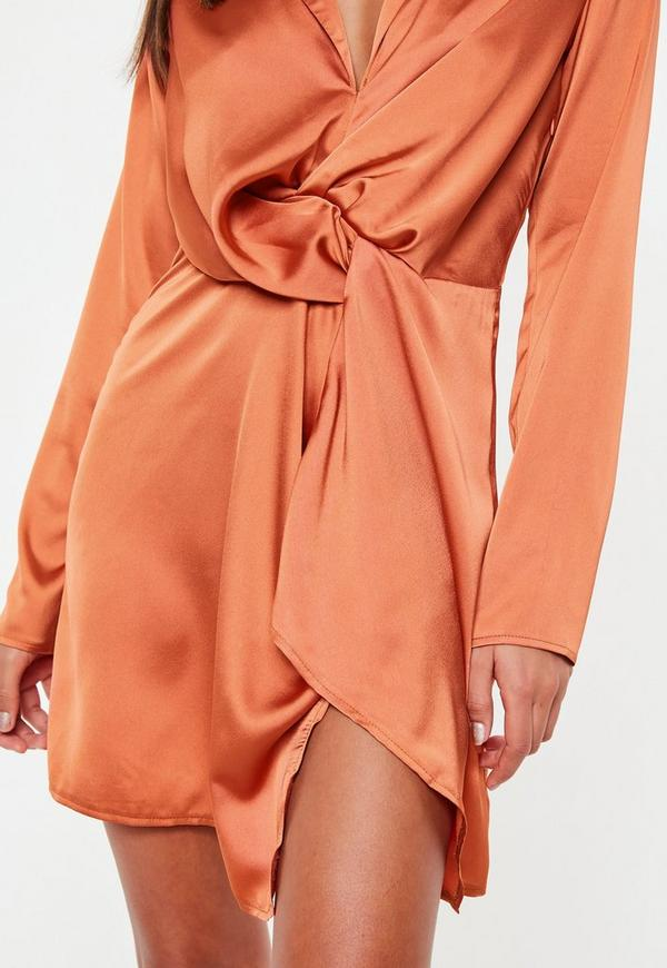 7de4177d28 Terracotta Slinky Plunge Wrap Shift Dress. Previous Next