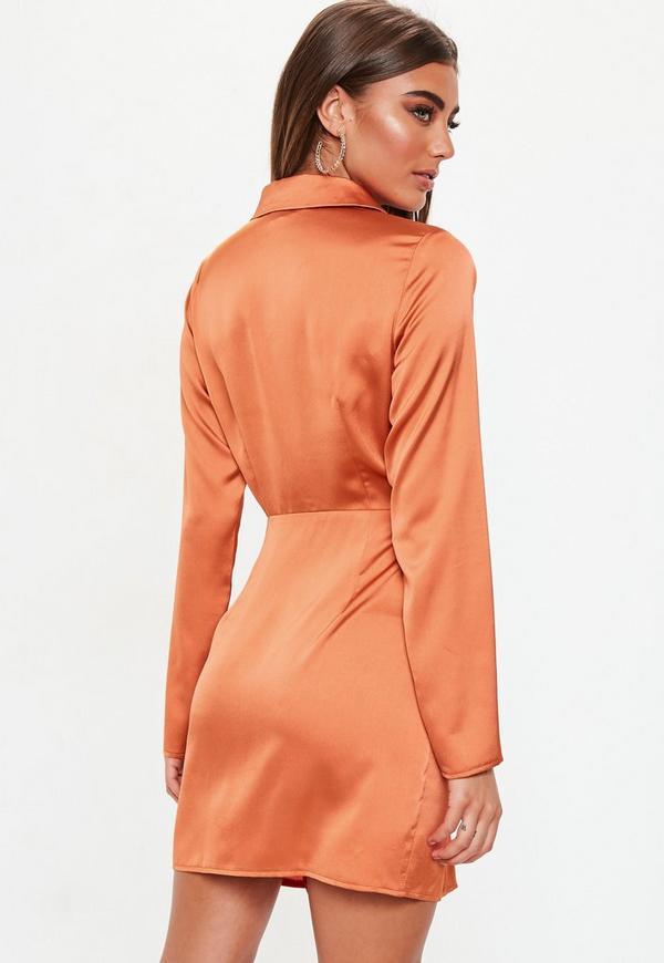 6dae59049d Terracotta Slinky Plunge Wrap Shift Dress. Previous Next